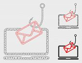 Mesh Laptop Mail Phishing Model With Triangle Mosaic Icon. Wire Carcass Triangular Mesh Of Laptop Ma poster