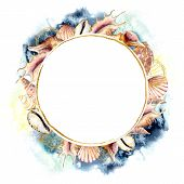 Watercolor Circle Frame With Golden Shells And Dark Blue Water. Hand Painted Sea Shells Card Isolate poster