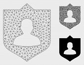 Mesh Lord Shield Model With Triangle Mosaic Icon. Wire Carcass Polygonal Mesh Of Lord Shield. Vector poster