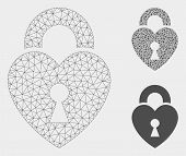 Mesh Heart Lock Model With Triangle Mosaic Icon. Wire Frame Triangular Mesh Of Heart Lock. Vector Mo poster