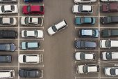 Regularity In Car Parking. A View To Carefully Parked Ranks Of Cars. Car Navigation In The Car Park. poster