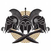 Ancient Hellenic Helmet, Two Crossed Ancient Greek Swords And Greek Ornament Meander poster