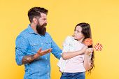 Sweet Dessert. Bearded Hipster Good Daddy For Adorable Daughter. Sharing Sweets With Dearest People. poster