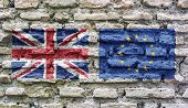 The Flag Of England And The European Union Imprinted On An Old Ruined Brick Wall. Concept Of Brexit  poster
