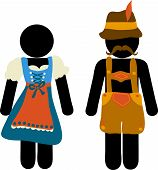 Pictogram Oktoberfest Beer Festival Greeting Card. Man And Woman Icons In Traditional Bavarian Costu poster
