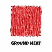 Vector Realistic Illustration Of Ground Meat. Minced Raw Meat Of Beef Or Pork Isolated On White Back poster