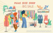 Flyer Invitation Plus Size Shop Big Sale Lettering. Overweight Women Choose Clothes On Hangers In St poster
