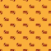 Money Protection Icon Seamless Pattern On Brown Background. Financial Security, Bank Account Protect poster