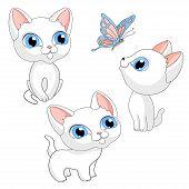 Kittens Kittens White Isolated Cartoon Illustration Vector poster