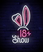 Rabbits Ears Neon Sign Vector Poster. Ladies, Mens Night Club. Show, Party For Adults Only Illustrat poster