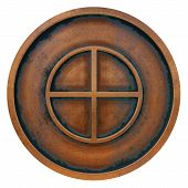 Paganism Symbol On The Copper Metal Coin 3d Rendering poster