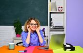 Funny Female Teacher In Classroom. Student In College. World Teachers Day. Young Female Teacher. Stu poster