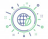 Globe With Leaf Line Icon. World Sign. Environment Day Symbol. Quality Design Elements. Technology E poster