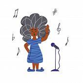 Singer With Microphones Stay Isolated. Little Girl Simple Characters. poster