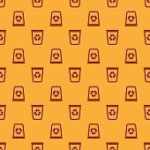 Red Recycle Bin With Recycle Symbol Icon Isolated Seamless Pattern On Brown Background. Trash Can Ic poster
