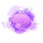 International Alzheimers Day. Human Brain With Purple Watercolor Stains. Disease And Extinction. Vec poster