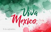 Viva Mexico Holiday Background With Watercolored Grunge Design. Independence Day Concept Background. poster