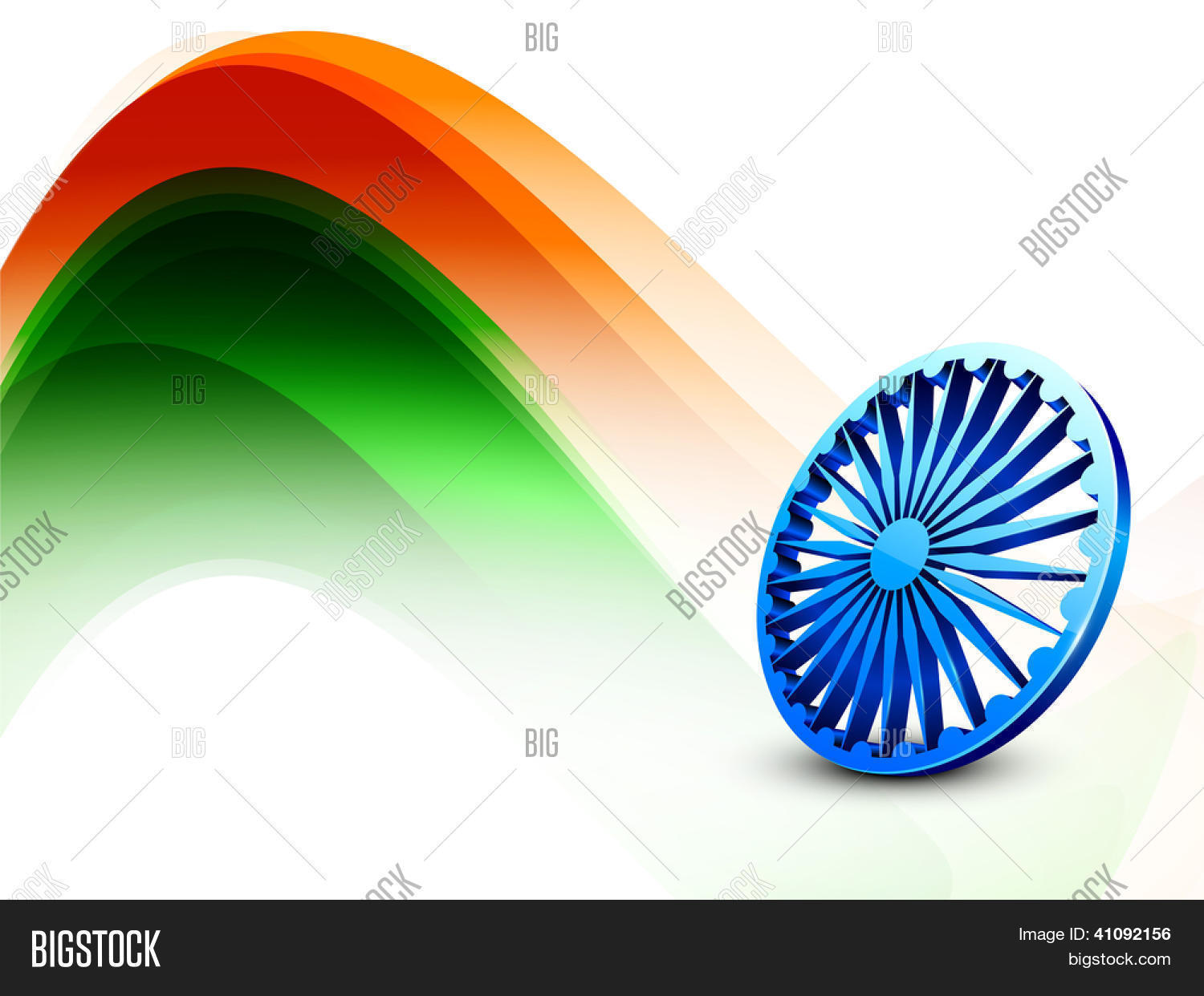 Creative Watercolor Indian Flag Background For Indian: Indian Flag Color Creative Wave Vector & Photo
