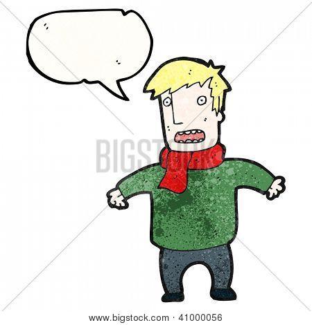 cartoon surprised man in scarf