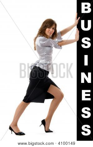 Business Woman Pushing Something