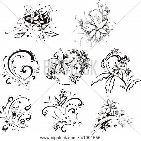 Stylistic Decorative Flower Elements
