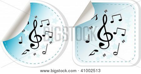 Music Note Icon On Sticker Set