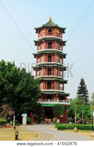 Chinese temple in Hong Kong with pagoda style architecture and tower