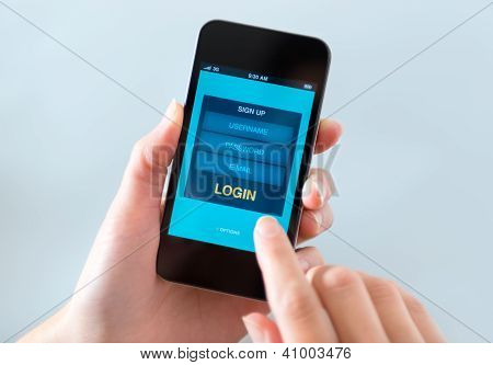 Login Form Window On Mobile Phone