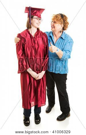 Proud mother giving her daughter a thumbs up on the day of her graduation.  Full body Isolated on white.