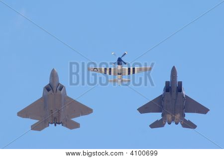 F-22 Raptor, P-51 Mustang, And F-15 Heritage Flight