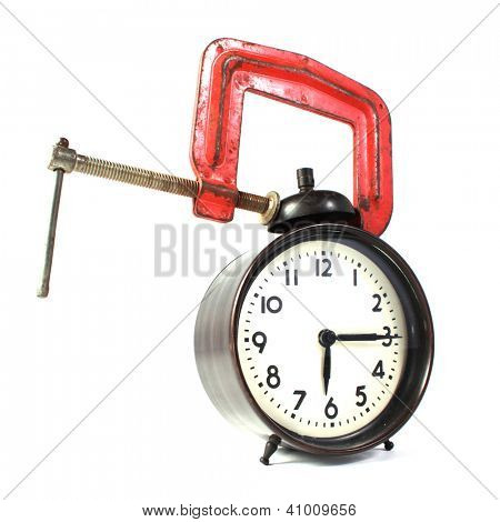 Alarm clock in a clamp