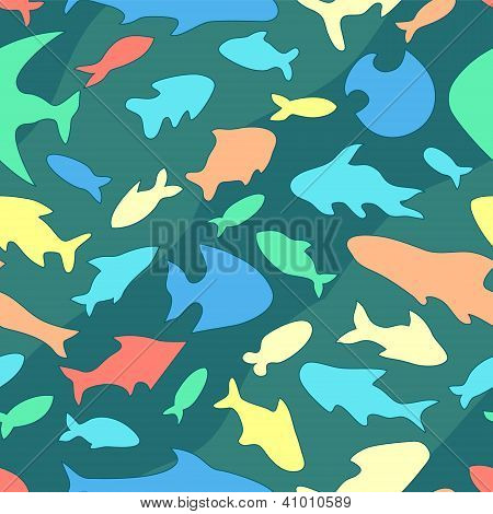 Colorful ocean fish variety seamless pattern, vector
