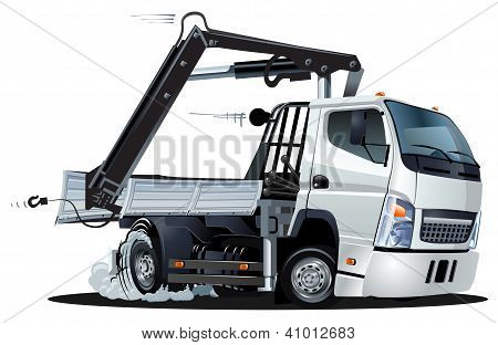 Vector Cartoon Lkw Truck with Crane