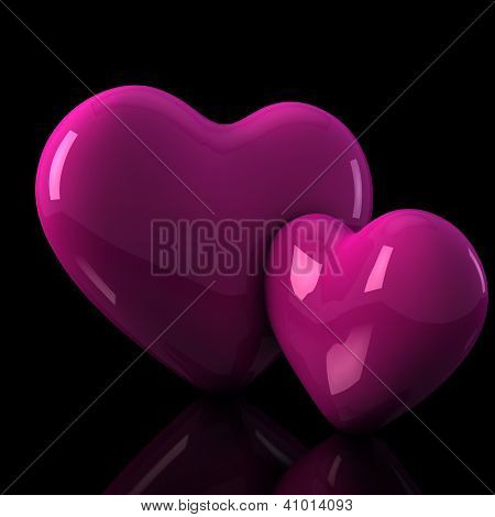 Two 3D Shiny Heart Illustration On Black Background