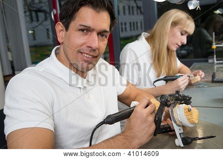 Dental Technician With Articulator
