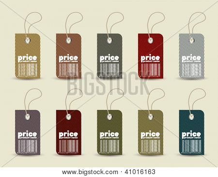 Price tag with retro pattern. Vector format in portfolio.