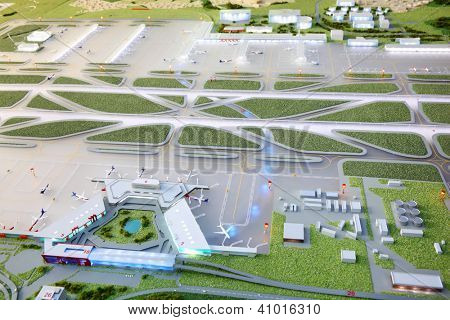 MOSCOW - SEPTEMBER 22: Airstrips of layout of Sheremetyevo Airport on September 22, 2011 in Moscow, Russia. Sheremetyevo International Airport is one of twenty largest airports in Europe.