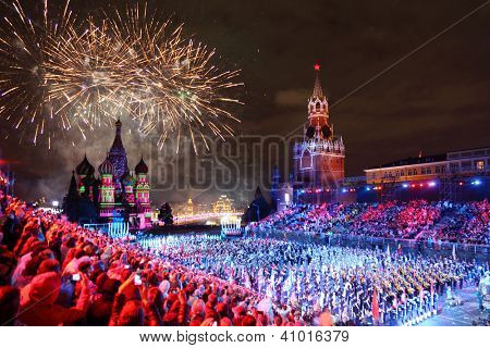 MOSCOW - SEPTEMBER 4: All participant and salute at Military Music Festival Spasskaya Tower on September 4, 2011 in Moscow, Russia.
