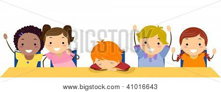 Illustration of a Kid Sleeping in Class