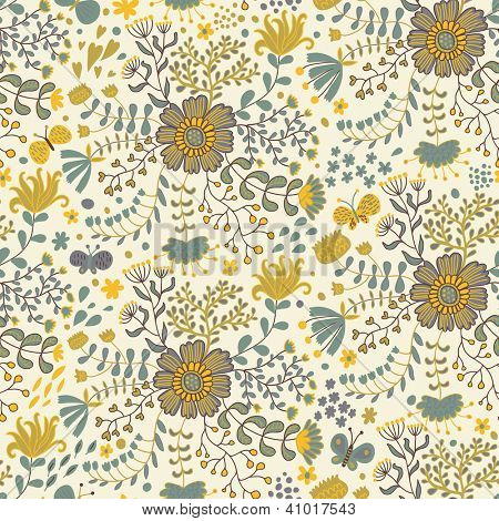 Vintage floral background. Butterflies in flowers � seamless pattern