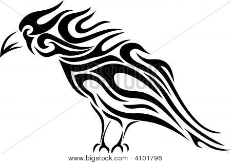 Tribal Tattoo Raven