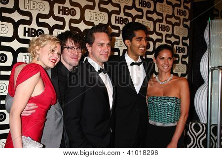 LOS ANGELES - JAN 13: Alison Pill, Thomas Sadoski, Dev Patel, Olivia Munn, John Gallagher Jr. arrive at the HBO Golden Globe Party at Beverly Hilton Hotel on January 13, 2013 in Beverly Hills, CA..