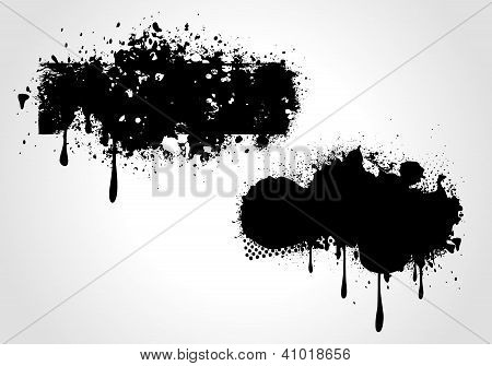 Two Vector Grunge Banners On White