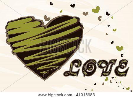 Valentine Day Grunge Background With Hearts
