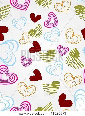 Romantic Heart Seamless Pattern, Vector