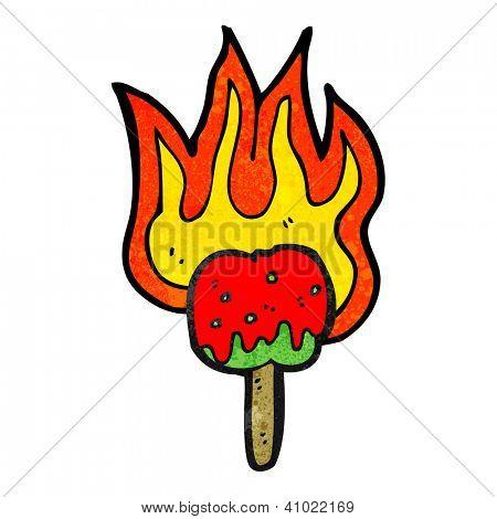 cartoon flaming toffee apple