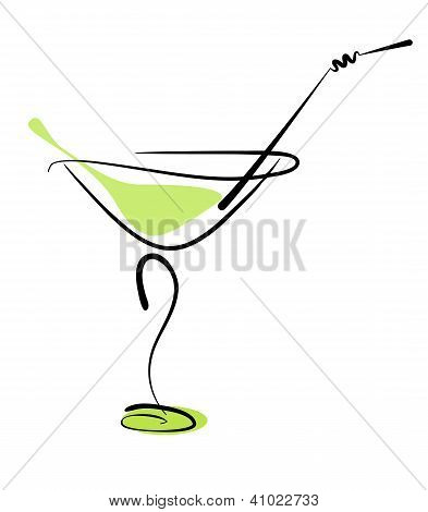 Alcohol Cocktail In Glass With Straw