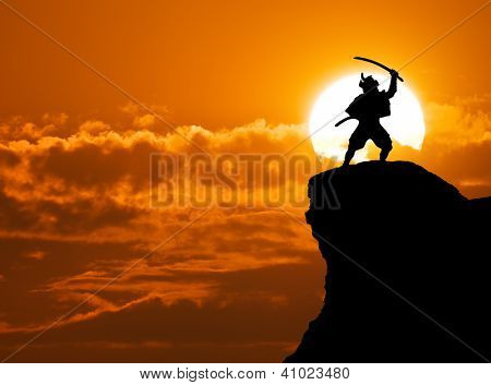 Samurai on top of mountain. Conceptual design.