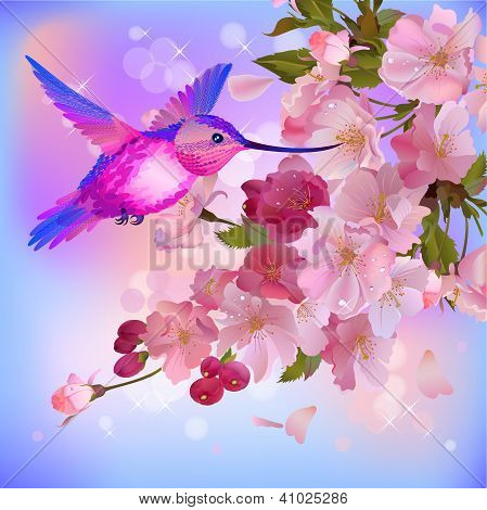 Vector Greeting Card With Branch Of Flowers And Humming-bird