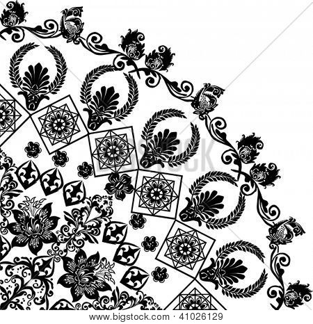 illustration with black flower quadrant ornament